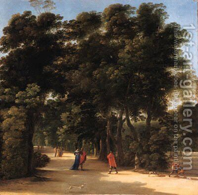 A park landscape with elegant figures conversing by Angeluccio - Reproduction Oil Painting