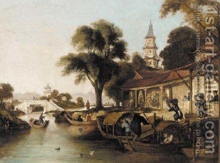 An oriental waterway scene with figures loading sacks onto punts by Anglo-Chinese School - Reproduction Oil Painting