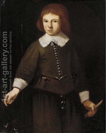 Portrait of a boy by Anglo-Dutch School - Reproduction Oil Painting