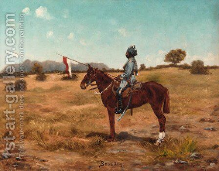 Scouting the 2nd Madras Lancers by Anglo-Indian School - Reproduction Oil Painting
