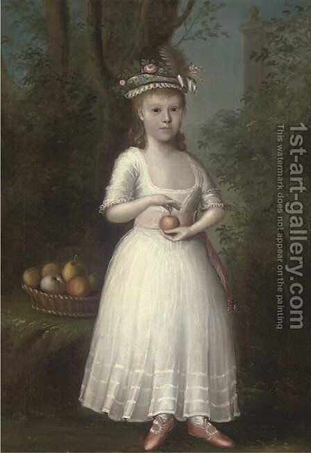 Portrait of a girl by Anglo-American School - Reproduction Oil Painting