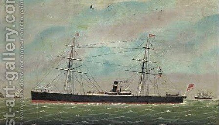 The auxiliary steamer Sesostris off the South Stack Lighthouse, Anglesey by Anglo-Chinese School - Reproduction Oil Painting