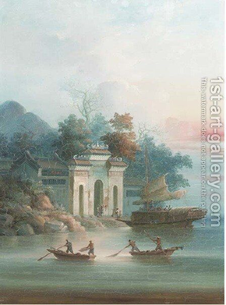 Boats infront of a temple; and another similar by Anglo-Chinese School - Reproduction Oil Painting