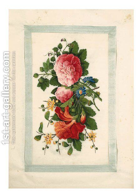 Flowers by Anglo-Chinese School - Reproduction Oil Painting