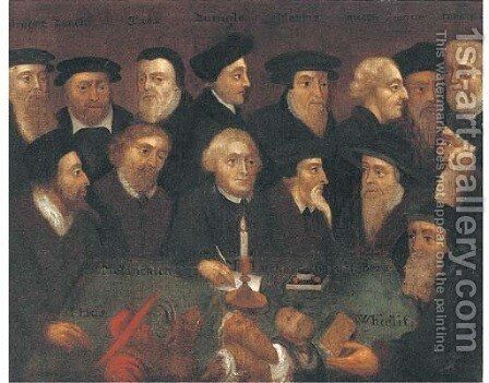 A group portrait of Reformers Henry Bullinger by Anglo-Dutch School - Reproduction Oil Painting