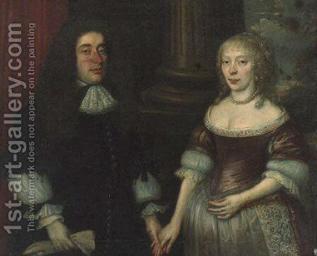 Group portrait of a gentleman and his wife by Anglo-Dutch School - Reproduction Oil Painting