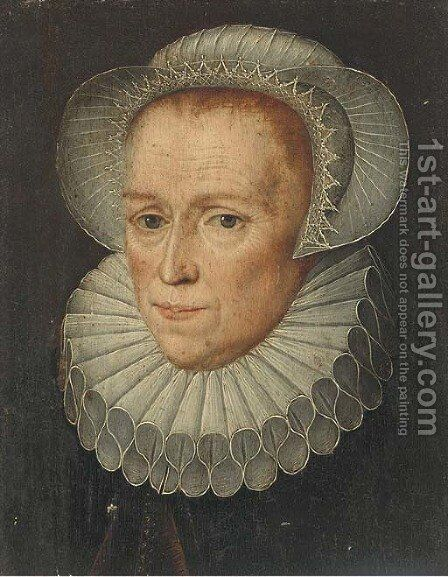 Portrait of a lady by Anglo-Dutch School - Reproduction Oil Painting