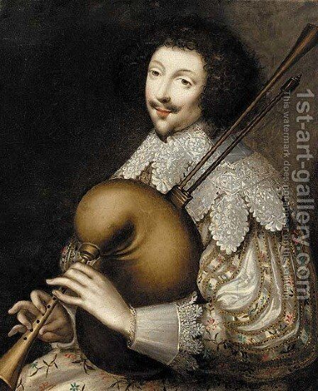 Portrait of a musician by Anglo-Dutch School - Reproduction Oil Painting