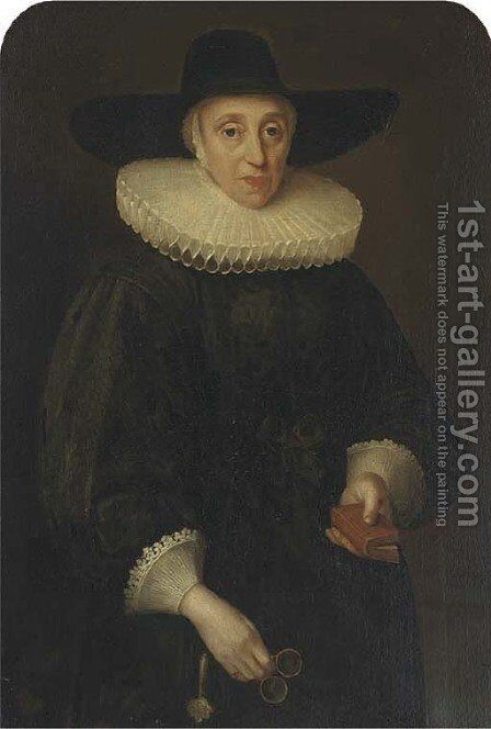 Portrait of Miss Eddowes by Anglo-Dutch School - Reproduction Oil Painting