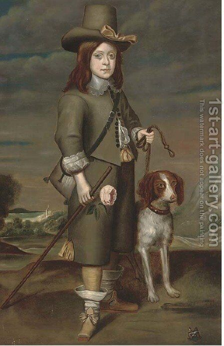Portrait of a boy, full-length by Anglo-Dutch School - Reproduction Oil Painting