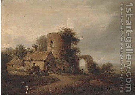 A landscape with farm buildings and figures by Anglo-Dutch School - Reproduction Oil Painting