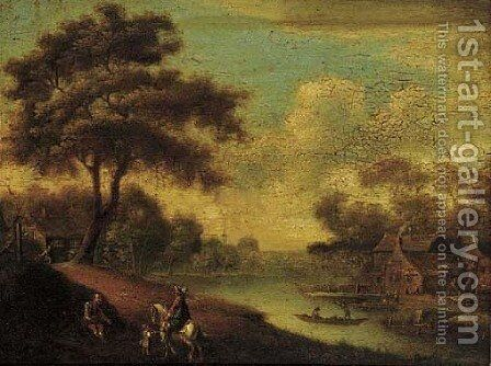 A traveller on horseback by a ferry crossing, a peddlar asking for money by Anglo-Dutch School - Reproduction Oil Painting
