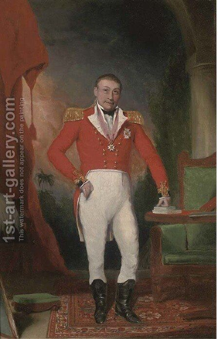 Portrait of General Sir John Doveton by Anglo-Indian School - Reproduction Oil Painting