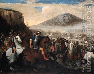 A Cavalry Battle by Aniello Falcone - Reproduction Oil Painting