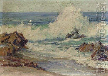 Dashing Waves, Laguna Beach by Anna Althea Hills - Reproduction Oil Painting