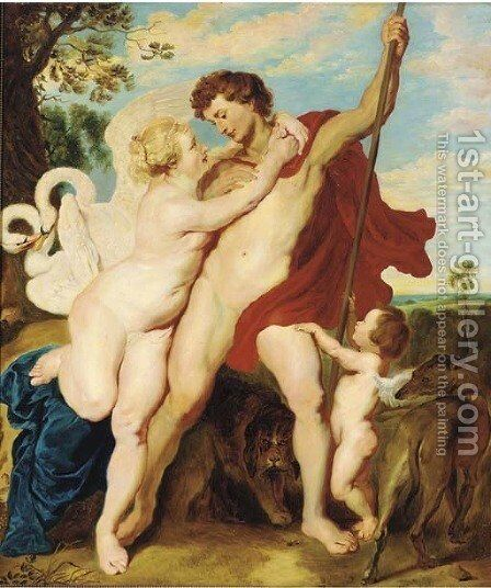 Venus and Adonis 2 by Rubens - Reproduction Oil Painting