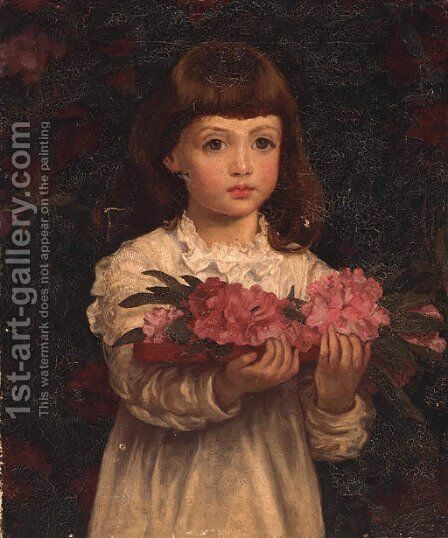 A Young Girl Collecting Rhododendron Flowers by Anna Lea Merritt - Reproduction Oil Painting