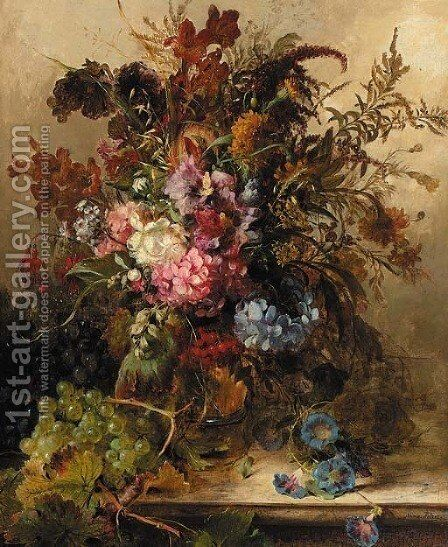 A field bouqet with hydrangea, fuchsia and other flowers by Anna Peters - Reproduction Oil Painting