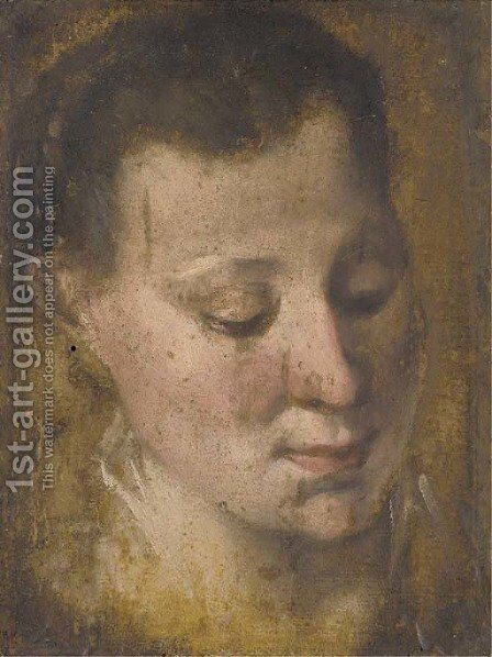 Head of a girl looking down to the right, her hair held in a plait by Annibale Carracci - Reproduction Oil Painting