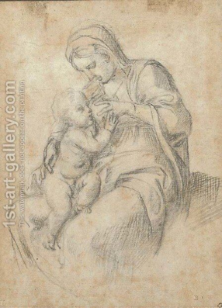 The Madonna suckling the infant Christ by Annibale Carracci - Reproduction Oil Painting
