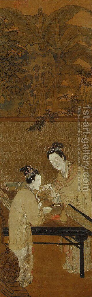 Figures of Ladies in the Style of Du Jin by Anonymous Artist - Reproduction Oil Painting