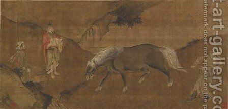 Taming a Horse by Anonymous Artist - Reproduction Oil Painting