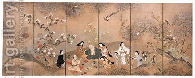 Party under spring blossoms by Anonymous Artist - Reproduction Oil Painting