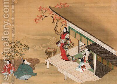 Visit to Kawachi, from Tales of Ise by Anonymous Artist - Reproduction Oil Painting