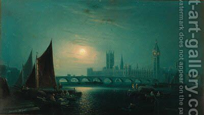 A moonlight view of the Thames, Westminster by Ansdele Smythe - Reproduction Oil Painting