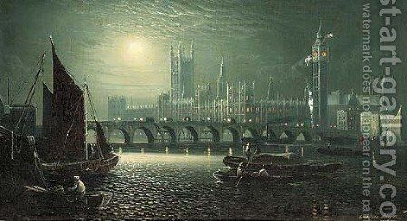 The Palace of Westminster in the moonlight by Ansdele Smythe - Reproduction Oil Painting