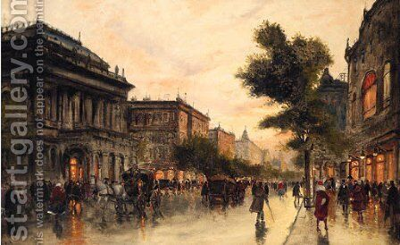 A Busy Street In Budapest by Antal Berkes - Reproduction Oil Painting