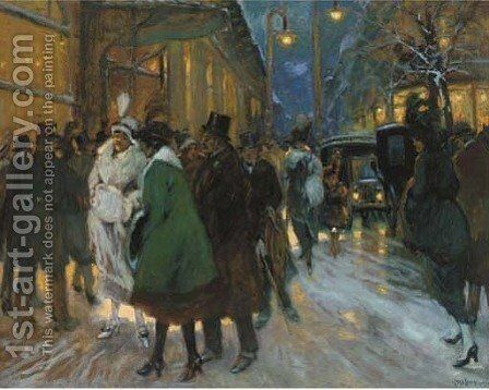 A Paris street at night by Antal Berkes - Reproduction Oil Painting