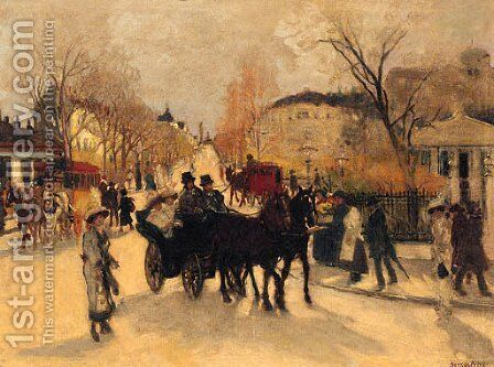 Figures in a Continental Street by Antal Berkes - Reproduction Oil Painting