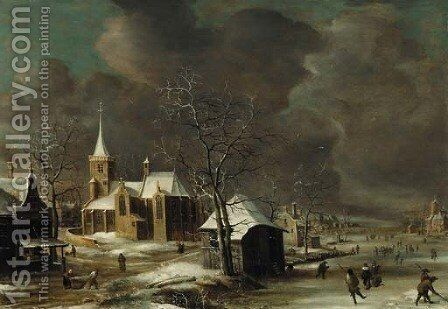 A village in winter, with villagers on a frozen waterway by Anthonie Beerstraaten - Reproduction Oil Painting