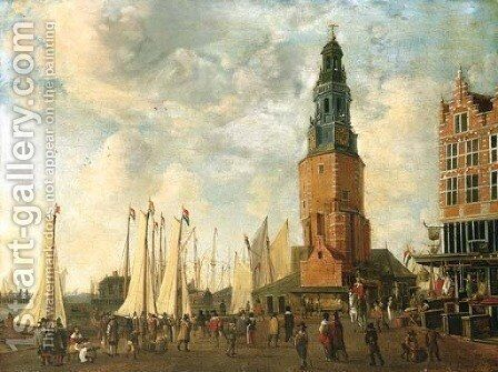 The Herring Packer's Tower, Amsterdam, with figures on the quay by Anthonie Beerstraaten - Reproduction Oil Painting