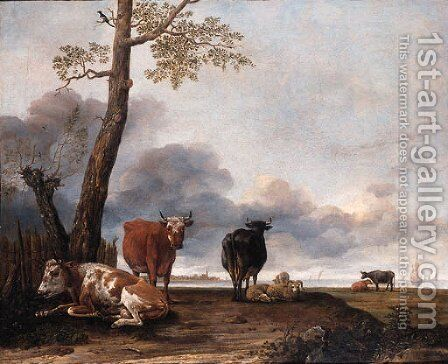 Cattle and sheep by a tree on a river bank, shipping beyond by Anthonie Cornelisz. Van Borssom - Reproduction Oil Painting