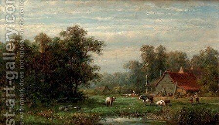 A farm in summer by Anthonie Jacobus van Wyngaerdt - Reproduction Oil Painting