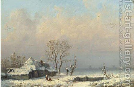 A farmhouse in the snow by Anthonie Jacobus van Wyngaerdt - Reproduction Oil Painting