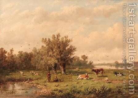 A landscape with a peasant couple and cattle by Anthonie Jacobus van Wyngaerdt - Reproduction Oil Painting