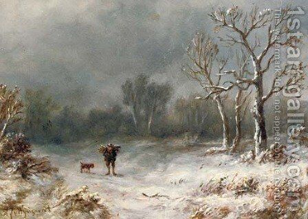 A villager and his dog in a winter landscape by Anthonie Jacobus van Wyngaerdt - Reproduction Oil Painting