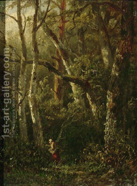 A woman picking berries in the woods by Anthonie Jacobus van Wyngaerdt - Reproduction Oil Painting
