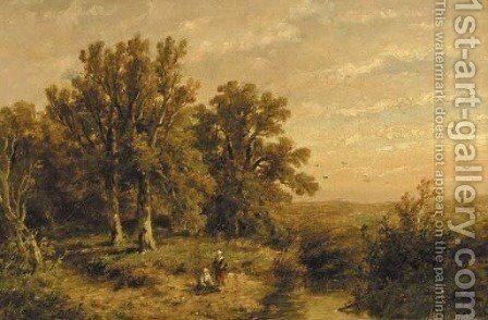 A wooded summer landscape with a peasant couple by a stream by Anthonie Jacobus van Wyngaerdt - Reproduction Oil Painting