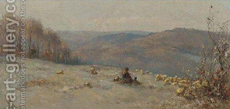 A shepherd and his flock on a hill side by Anthonie Jacobus van Wyngaerdt - Reproduction Oil Painting