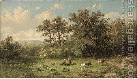 Cattle herders building a fire by Anthonie Jacobus van Wyngaerdt - Reproduction Oil Painting