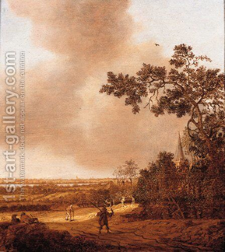 A falconer and travellers on a path in the dunes, a town in the distance by Anthony Jansz van der Croos - Reproduction Oil Painting