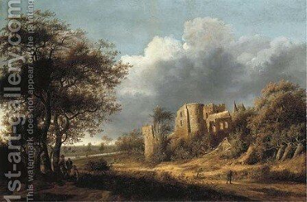 A landscape with the ruined castle of Egmond, a river beyond by Anthony Jansz van der Croos - Reproduction Oil Painting