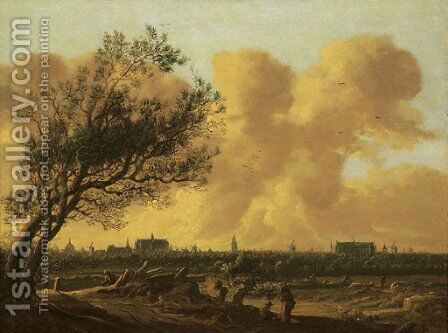 A panaromic view of Leiden with figures under a tree in the foreground by Anthony Jansz van der Croos - Reproduction Oil Painting