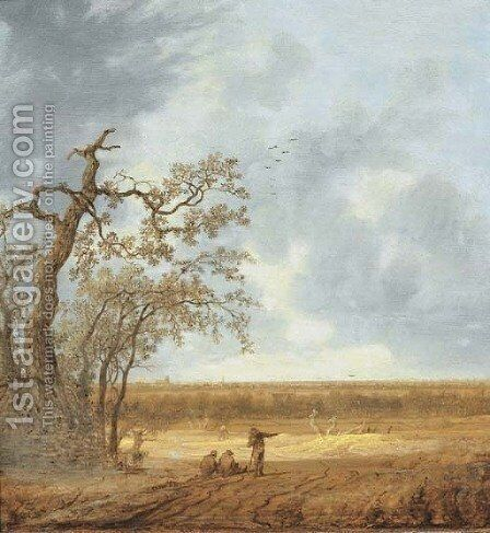 An extensive landscape with peasants conversing by a dead tree by Anthony Jansz van der Croos - Reproduction Oil Painting