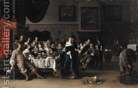 An interior with a christening party by Anthonie Palamedesz. (Stevaerts, Stevens) - Reproduction Oil Painting
