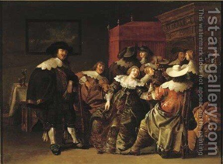 An elegant company making merry in an interior by Anthonie Palamedesz. (Stevaerts, Stevens) - Reproduction Oil Painting